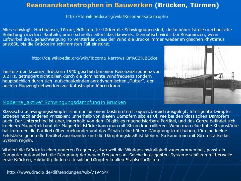 Resonanzkatastrophen in Bauwerken (Brücken, Türmen)