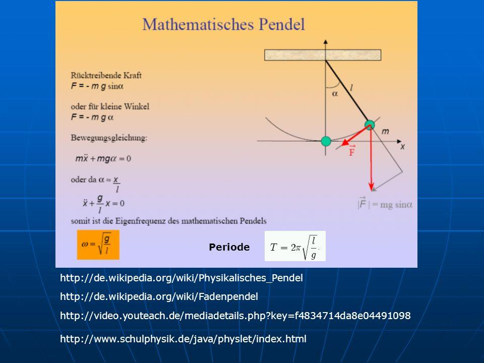 Periode http://de.wikipedia.org/wiki/Physikalisches_Pendel. http://de.wikipedia.org/wiki/Fadenpendel.