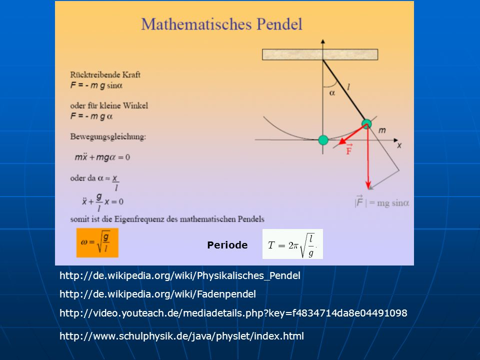 Periodehttp://de.wikipedia.org/wiki/Physikalisches_Pendel. http://de.wikipedia.org/wiki/Fadenpendel.