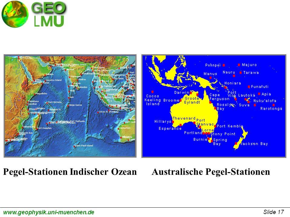 Pegel-Stationen Indischer Ozean Australische Pegel-Stationen