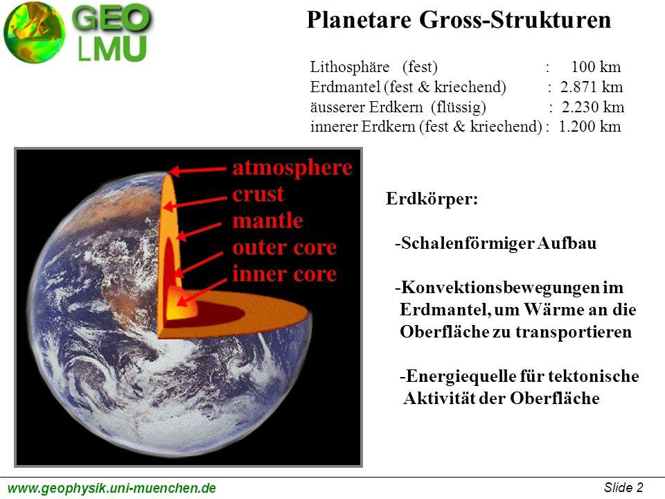 Planetare Gross-Strukturen Lithosphäre (fest) : 100 km Erdmantel (fest & kriechend) : 2.871 km äusserer Erdkern (flüssig) : 2.230 km innerer Erdkern (fest & kriechend) : 1.200 km