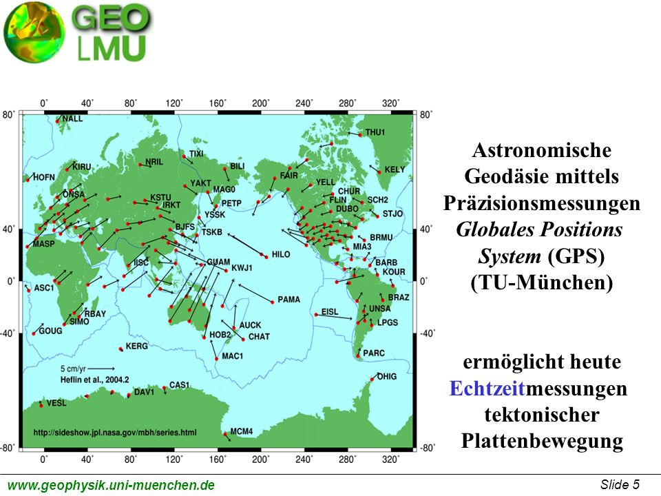 AstronomischeGeodäsie mittels. Präzisionsmessungen. Globales Positions. System (GPS) (TU-München) ermöglicht heute.