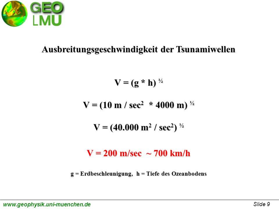 Ausbreitungsgeschwindigkeit der Tsunamiwellen