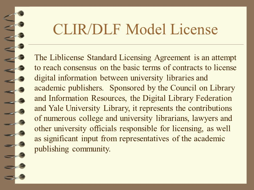 CLIR/DLF Model License
