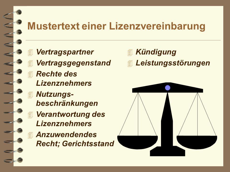 Mustertext einer Lizenzvereinbarung
