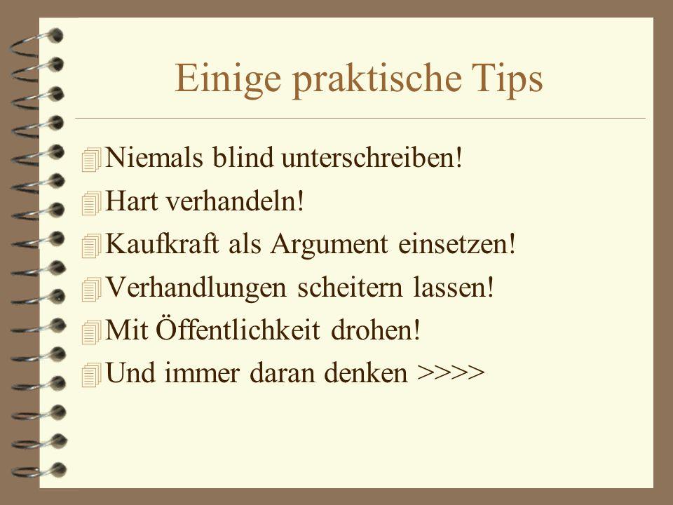 Einige praktische Tips