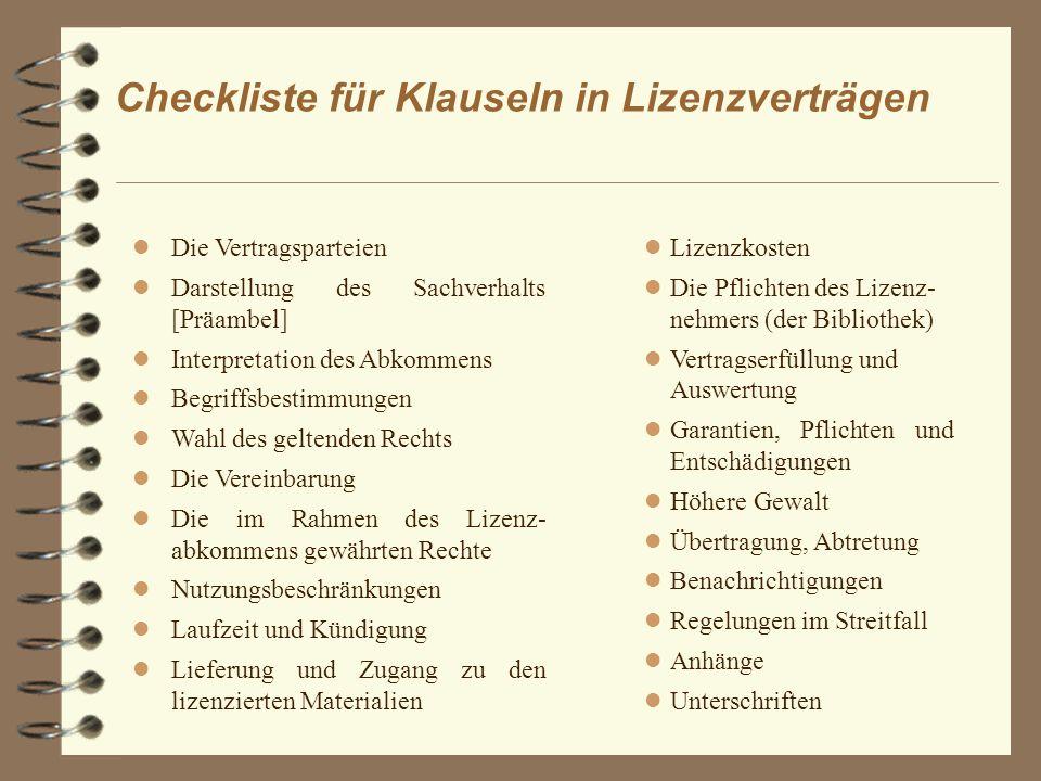 Checkliste für Klauseln in Lizenzverträgen