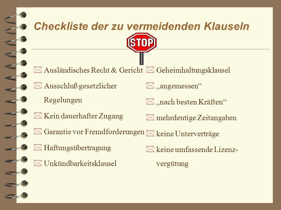 Checkliste der zu vermeidenden Klauseln