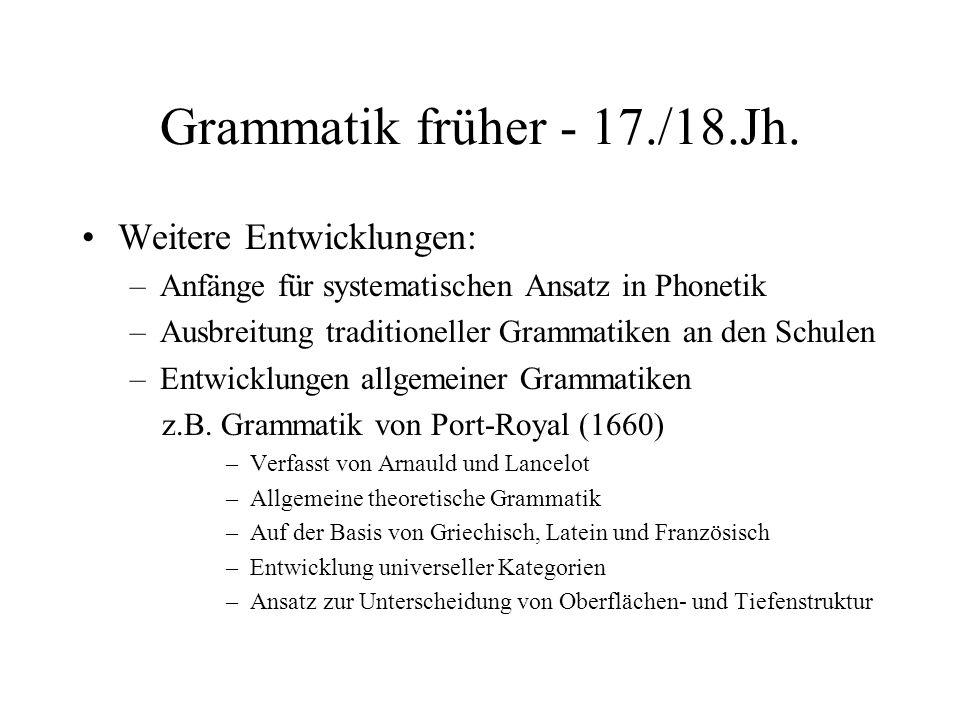 Grammatik früher - 17./18.Jh. Weitere Entwicklungen: