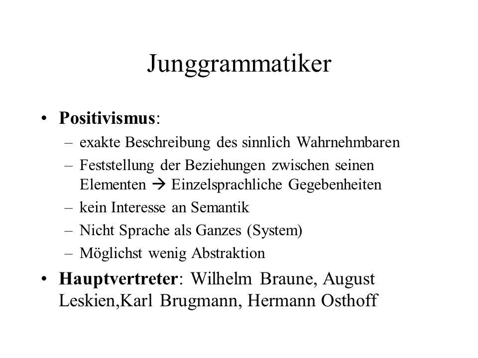 Junggrammatiker Positivismus: