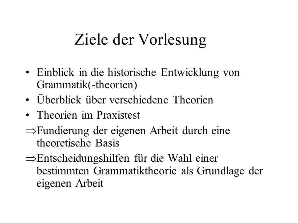 Ziele der Vorlesung Einblick in die historische Entwicklung von Grammatik(-theorien) Überblick über verschiedene Theorien.