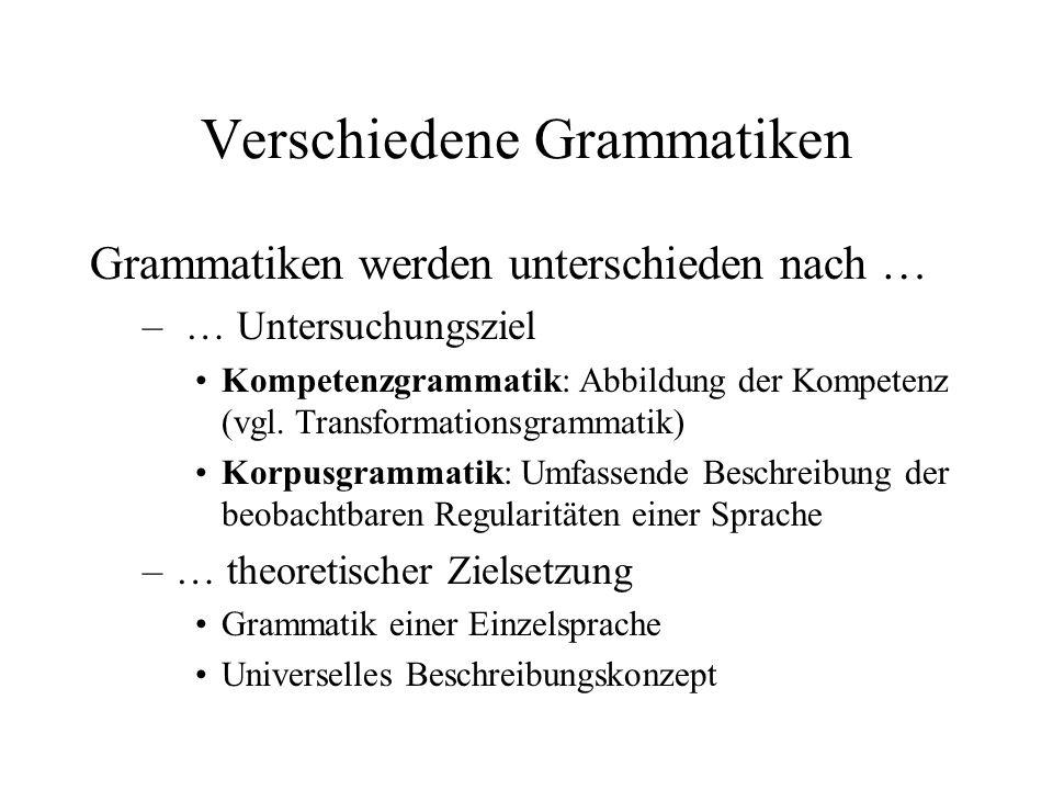Verschiedene Grammatiken
