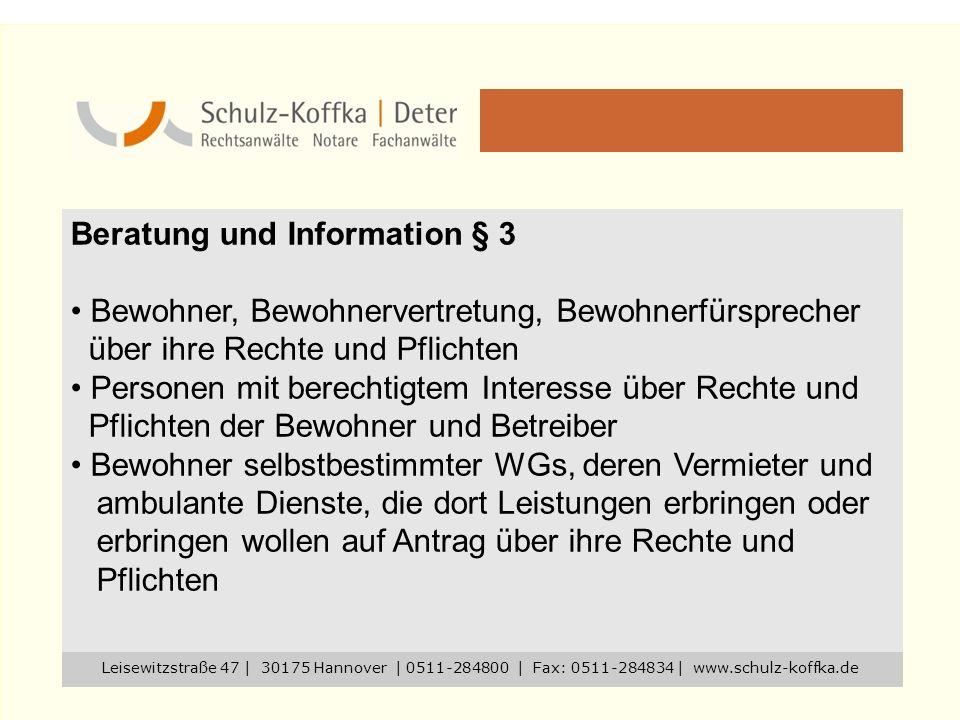 Beratung und Information § 3