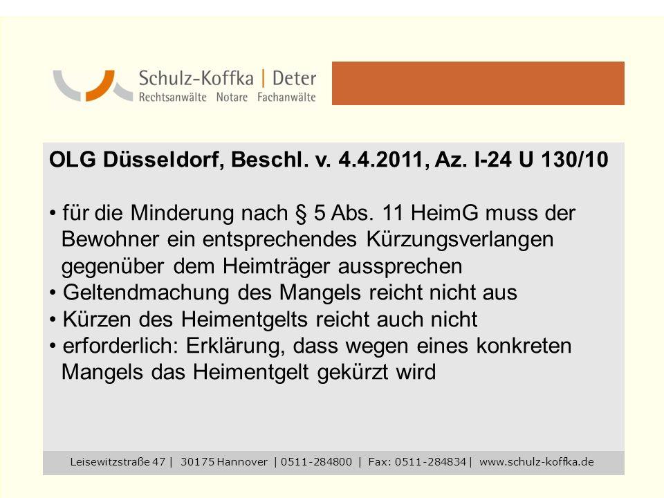 OLG Düsseldorf, Beschl. v. 4.4.2011, Az. I-24 U 130/10