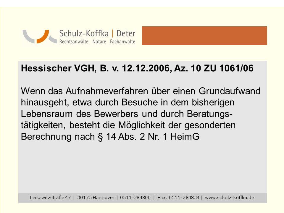 Hessischer VGH, B. v. 12.12.2006, Az. 10 ZU 1061/06