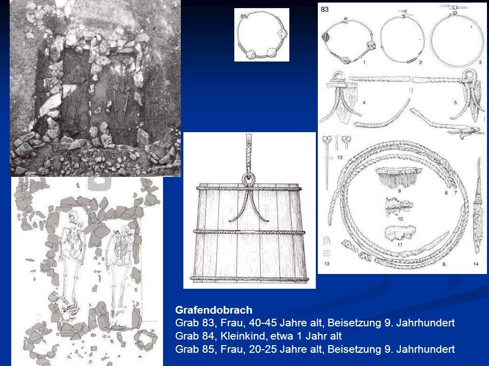 GrafendobrachGrab 83, Frau, 40-45 Jahre alt, Beisetzung 9. Jahrhundert. Grab 84, Kleinkind, etwa 1 Jahr alt.