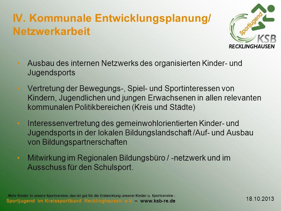 IV. Kommunale Entwicklungsplanung/ Netzwerkarbeit