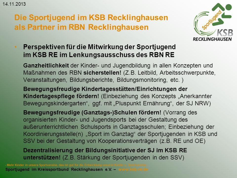 25.03.2017 Die Sportjugend im KSB Recklinghausen als Partner im RBN Recklinghausen.