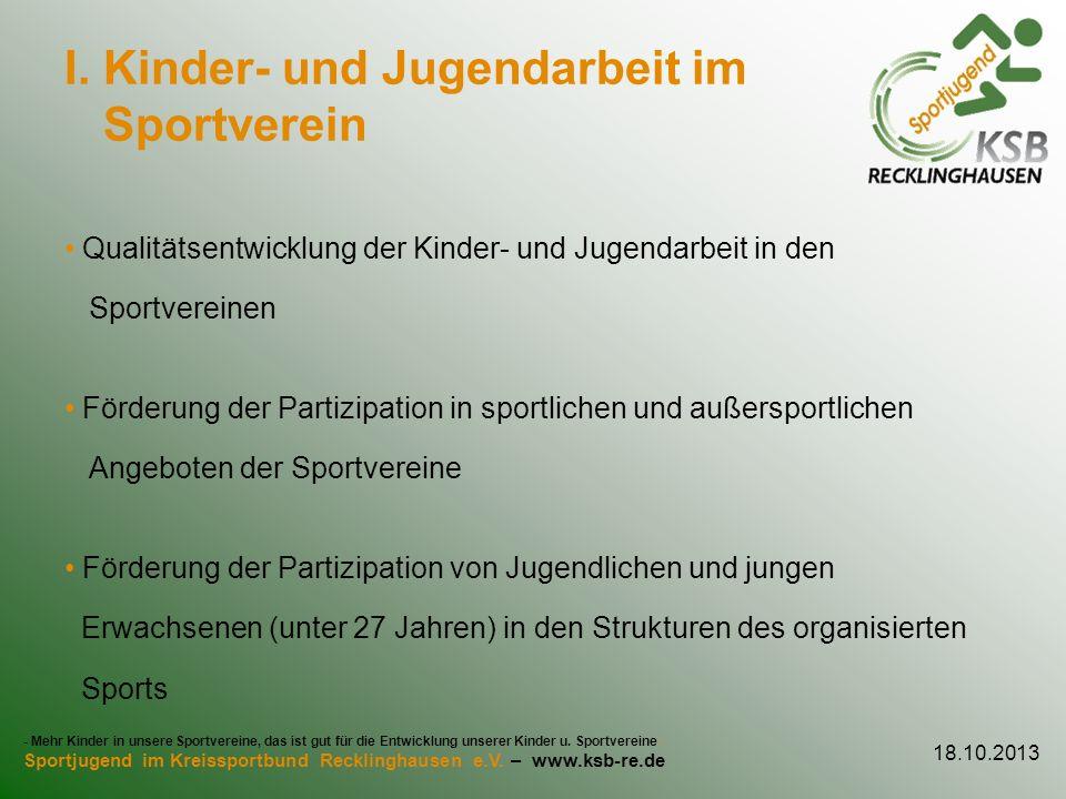 I. Kinder- und Jugendarbeit im Sportverein
