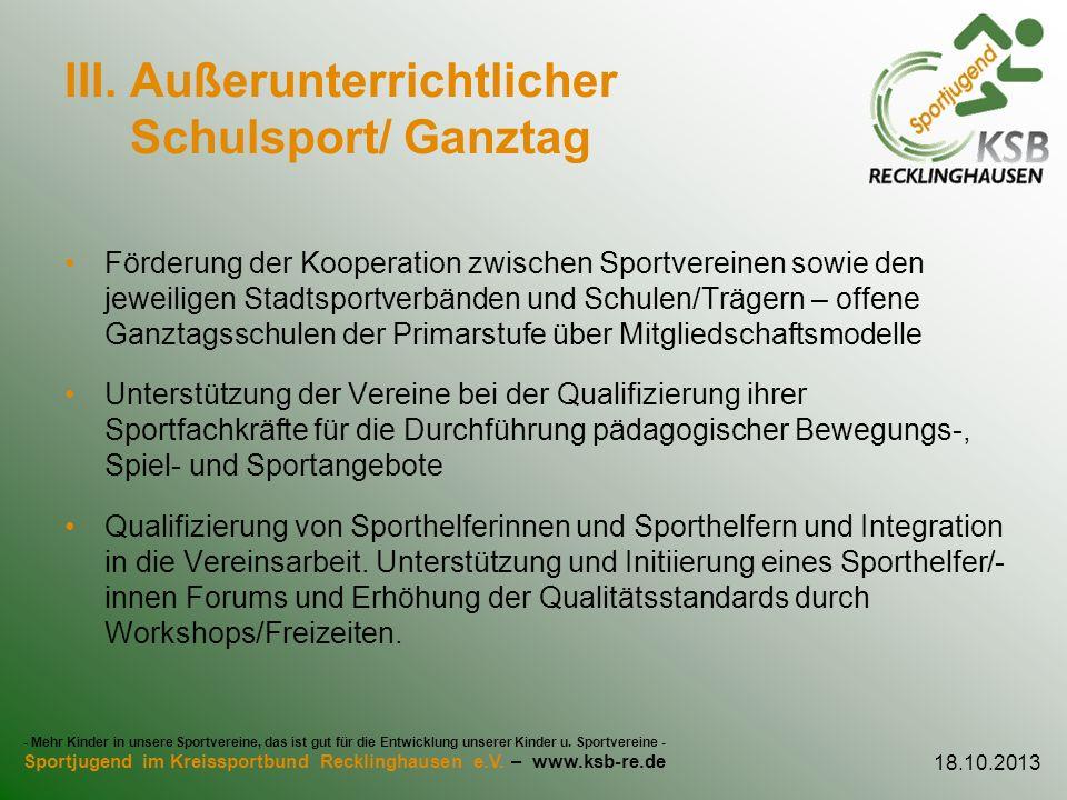 III. Außerunterrichtlicher Schulsport/ Ganztag
