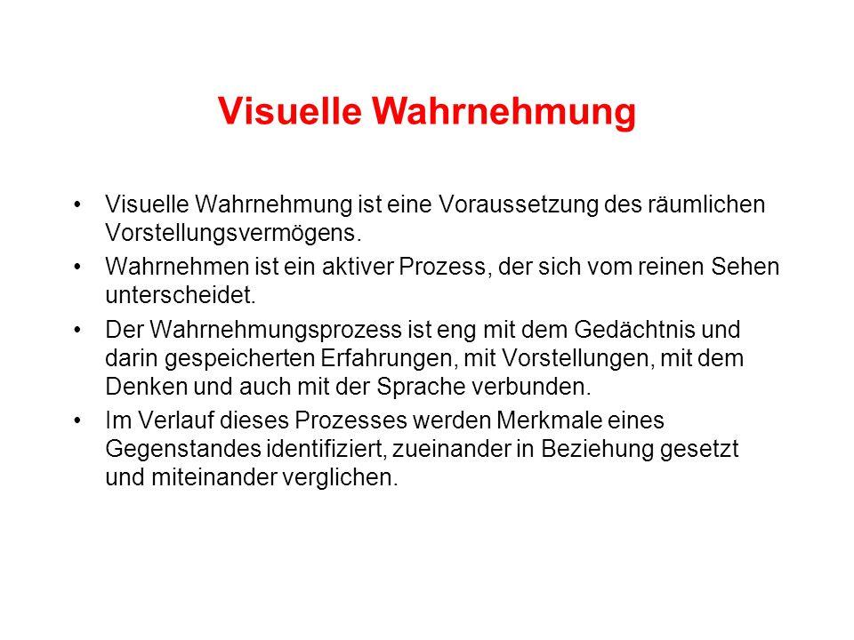 Visuelle WahrnehmungVisuelle Wahrnehmung ist eine Voraussetzung des räumlichen Vorstellungsvermögens.