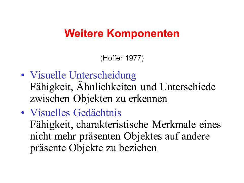 Weitere Komponenten (Hoffer 1977) Visuelle Unterscheidung Fähigkeit, Ähnlichkeiten und Unterschiede zwischen Objekten zu erkennen.