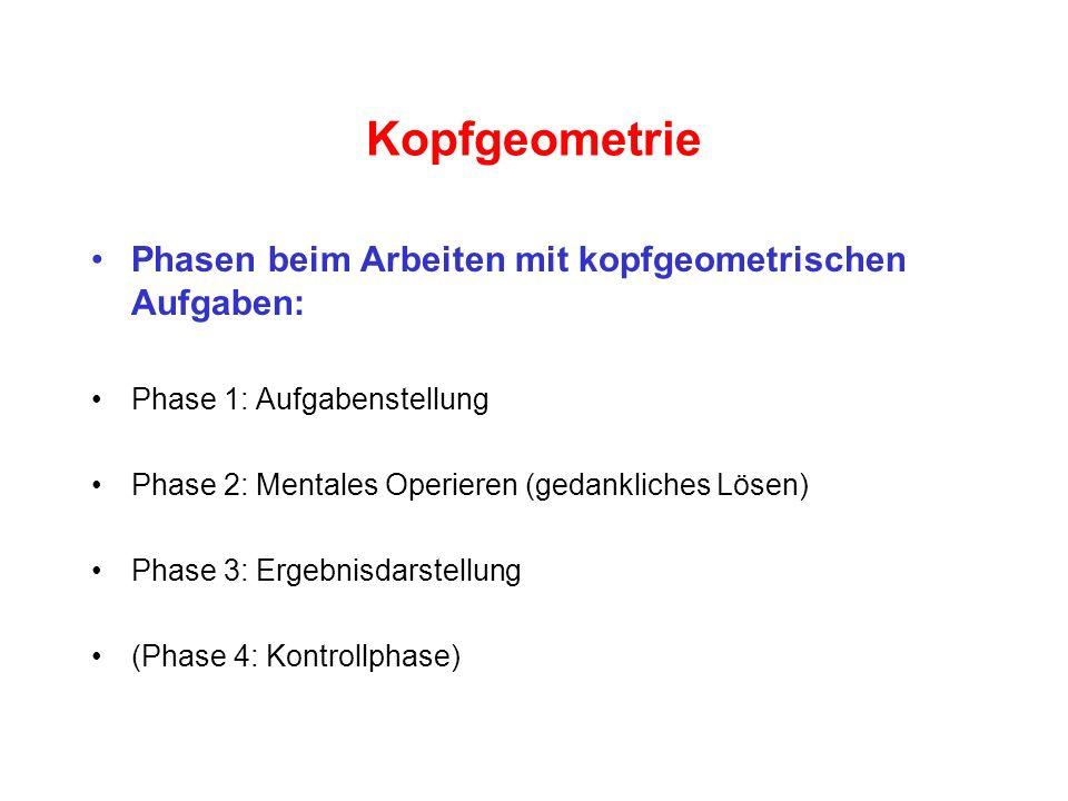 Kopfgeometrie Phasen beim Arbeiten mit kopfgeometrischen Aufgaben:
