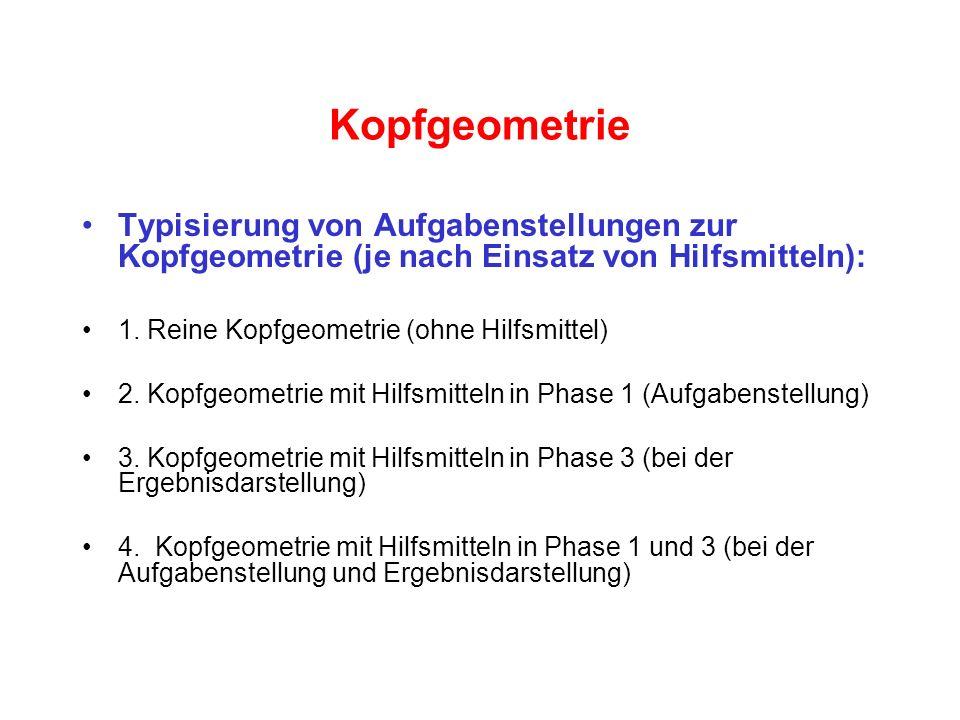 Kopfgeometrie Typisierung von Aufgabenstellungen zur Kopfgeometrie (je nach Einsatz von Hilfsmitteln):