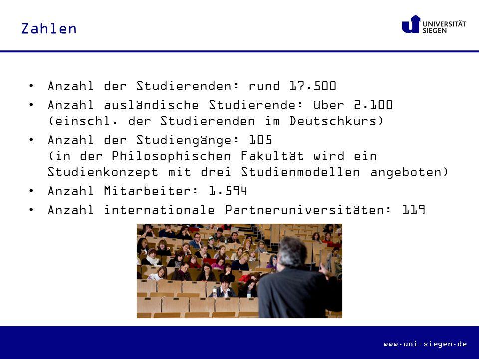 Zahlen Anzahl der Studierenden: rund 17.500