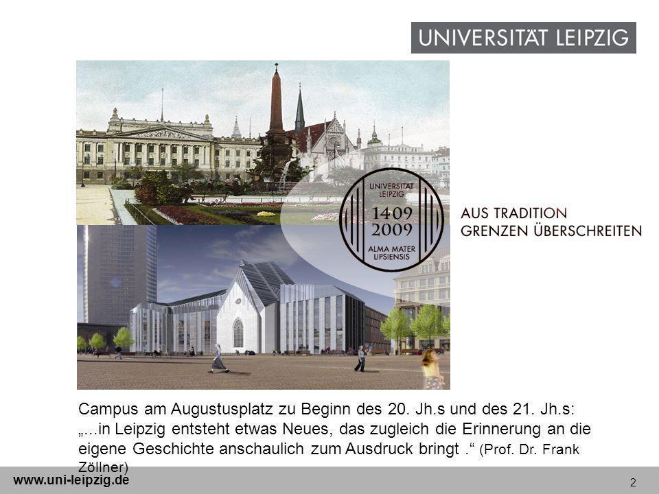 """Campus am Augustusplatz zu Beginn des 20. Jh. s und des 21. Jh. s: """""""