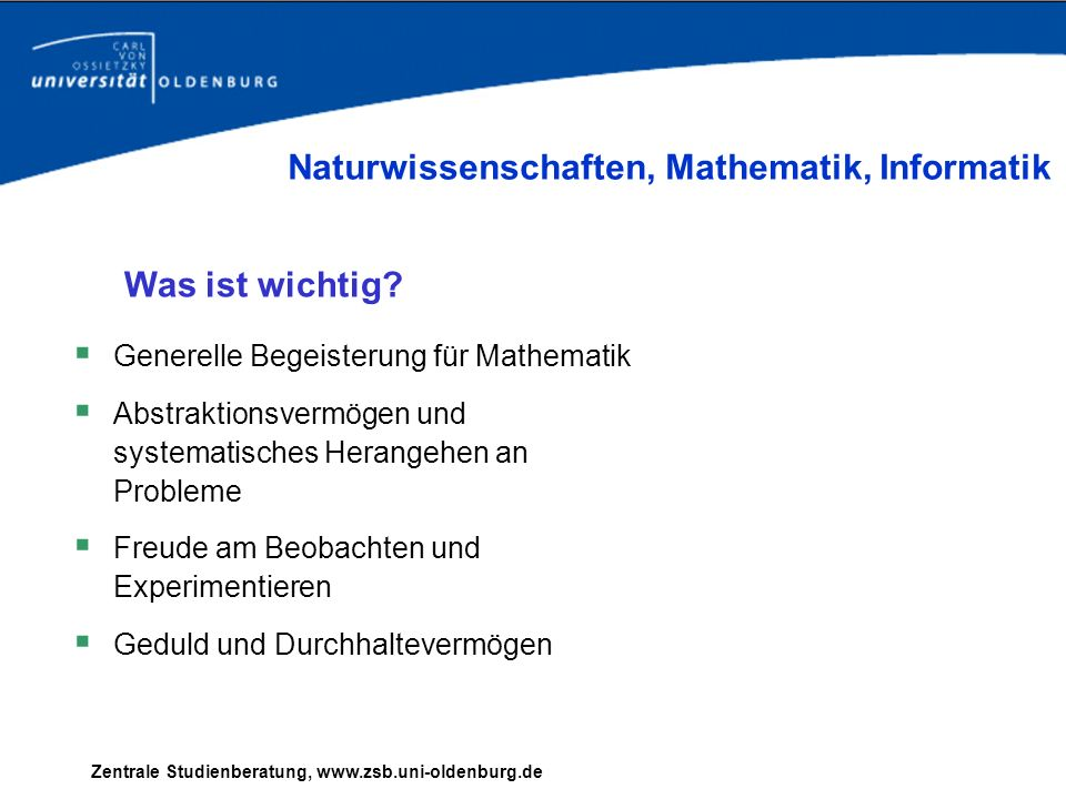 Naturwissenschaften, Mathematik, Informatik