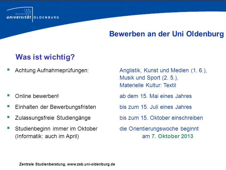 Bewerben an der Uni Oldenburg