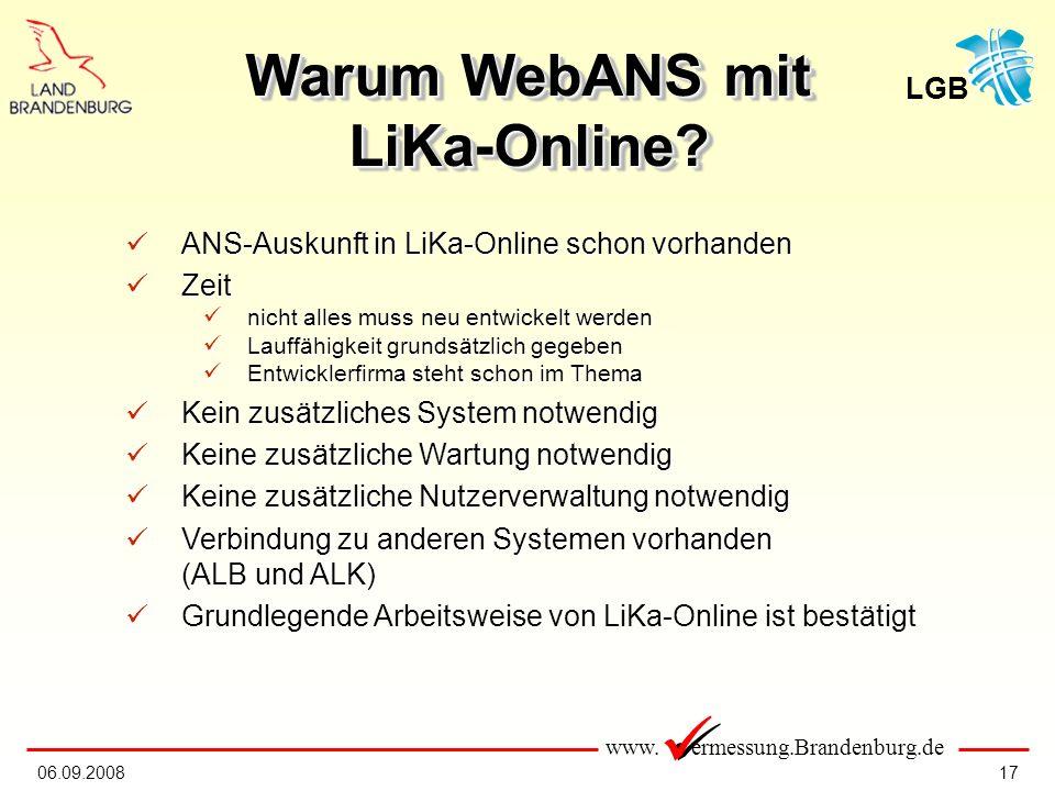 Warum WebANS mit LiKa-Online