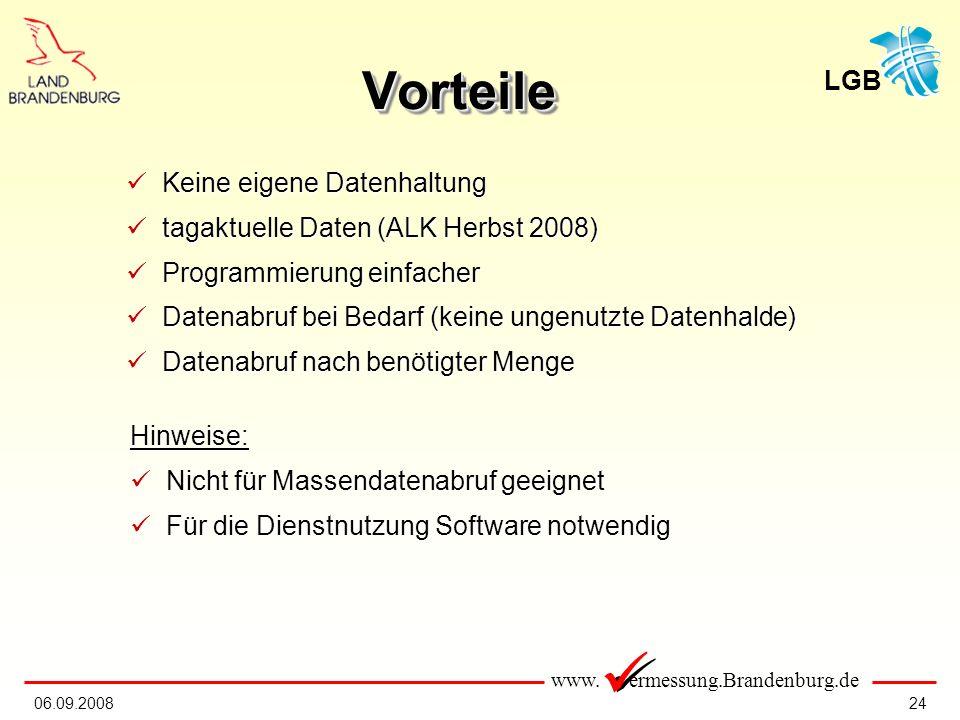 Vorteile Keine eigene Datenhaltung tagaktuelle Daten (ALK Herbst 2008)