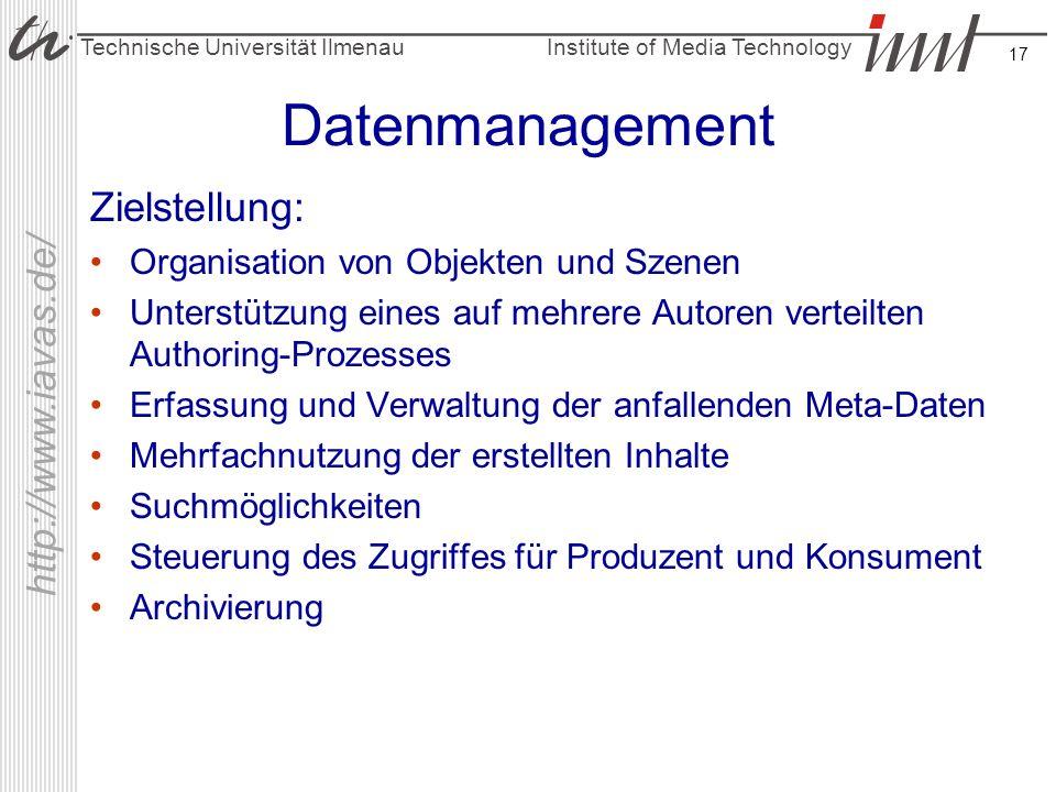 Datenmanagement Zielstellung: Organisation von Objekten und Szenen