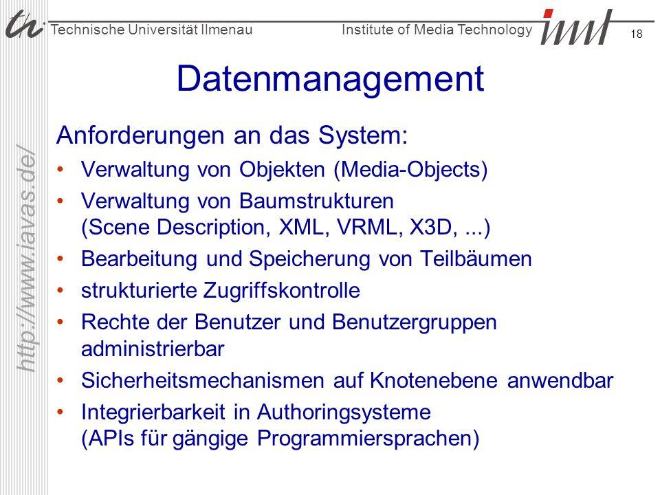 Datenmanagement Anforderungen an das System: