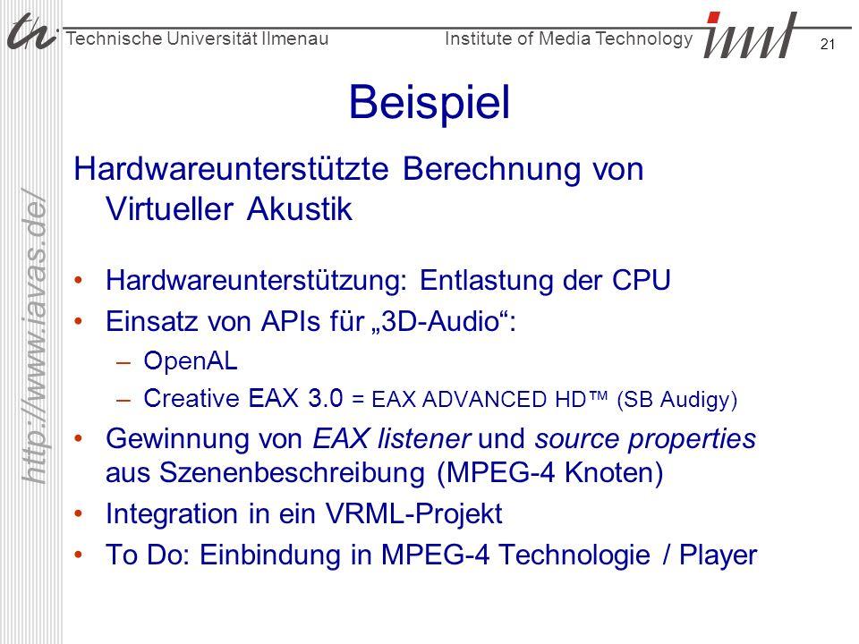 Beispiel Hardwareunterstützte Berechnung von Virtueller Akustik