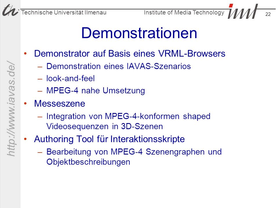Demonstrationen Demonstrator auf Basis eines VRML-Browsers Messeszene