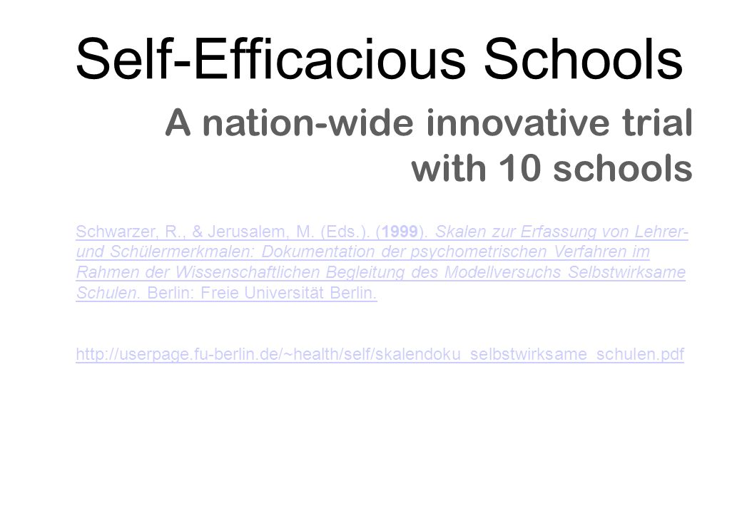 Self-Efficacious Schools