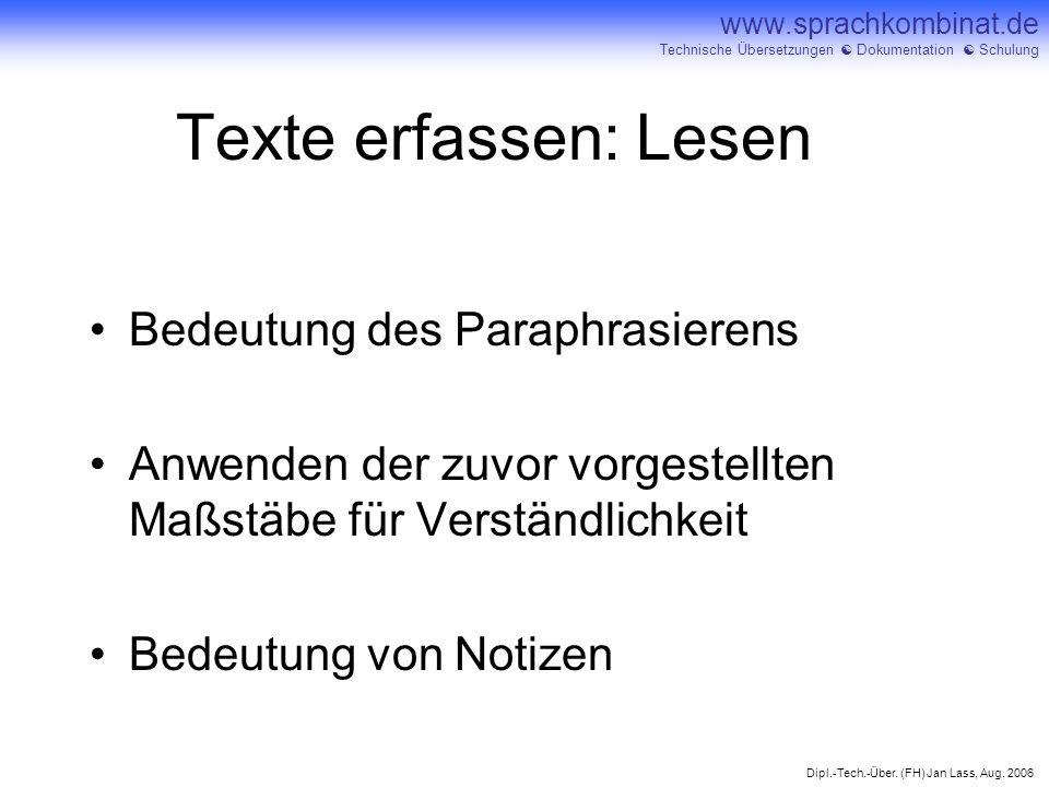 Texte erfassen: Lesen Bedeutung des Paraphrasierens