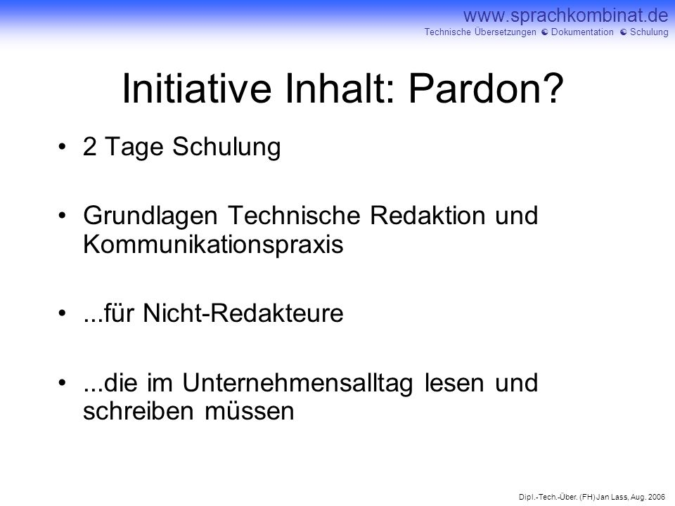 Initiative Inhalt: Pardon