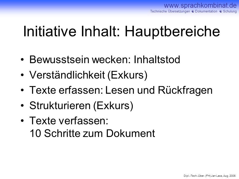 Initiative Inhalt: Hauptbereiche
