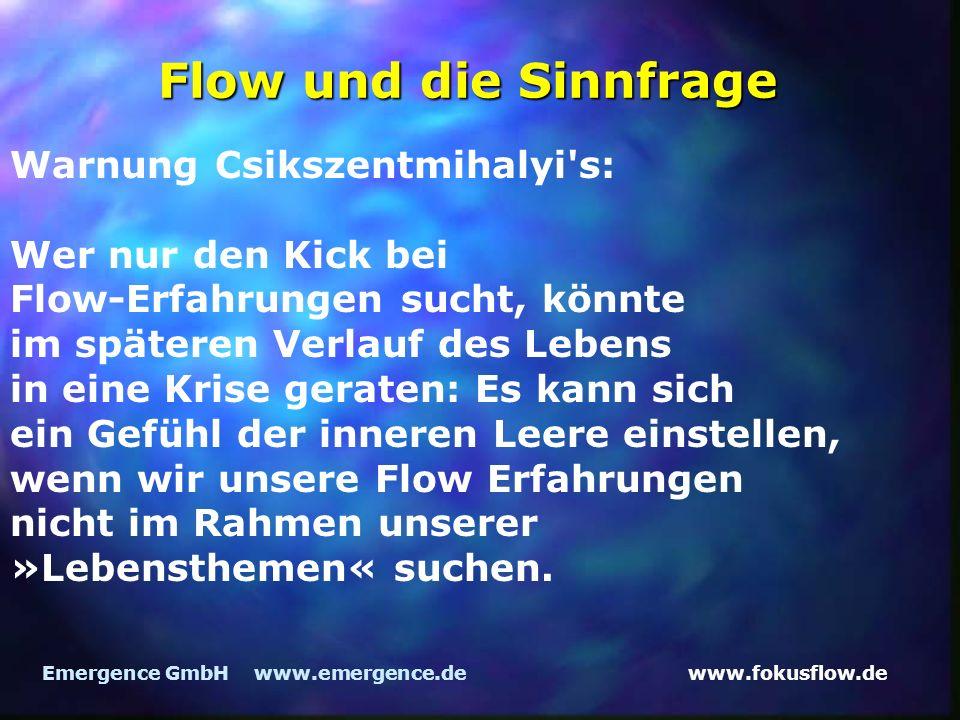 Flow und die Sinnfrage Warnung Csikszentmihalyi s: