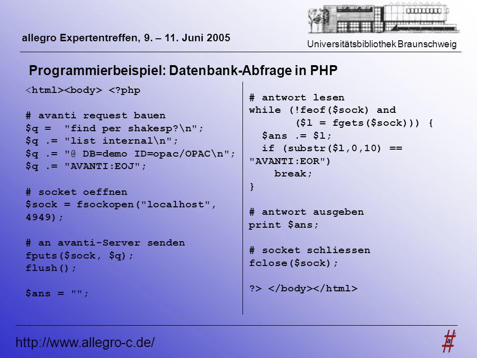 Programmierbeispiel: Datenbank-Abfrage in PHP
