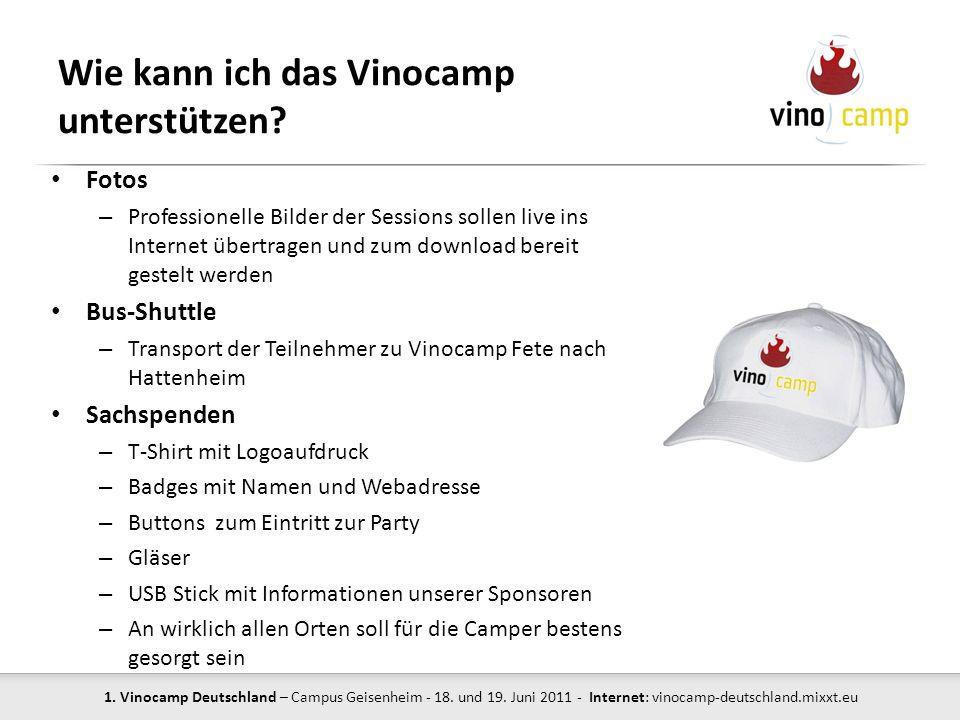 Wie kann ich das Vinocamp unterstützen