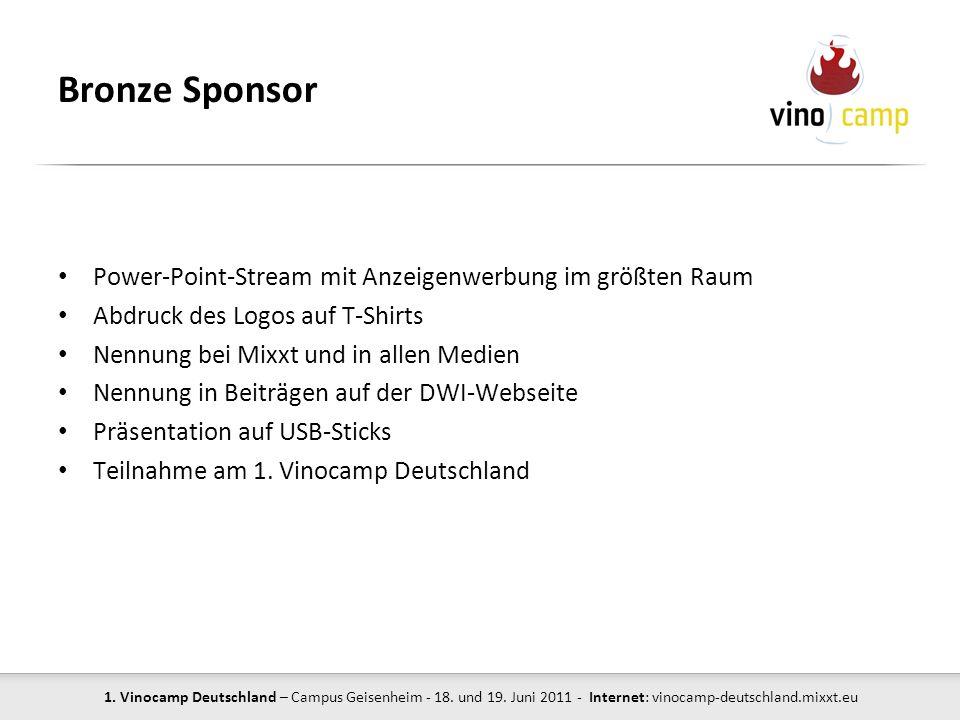Bronze Sponsor Power-Point-Stream mit Anzeigenwerbung im größten Raum