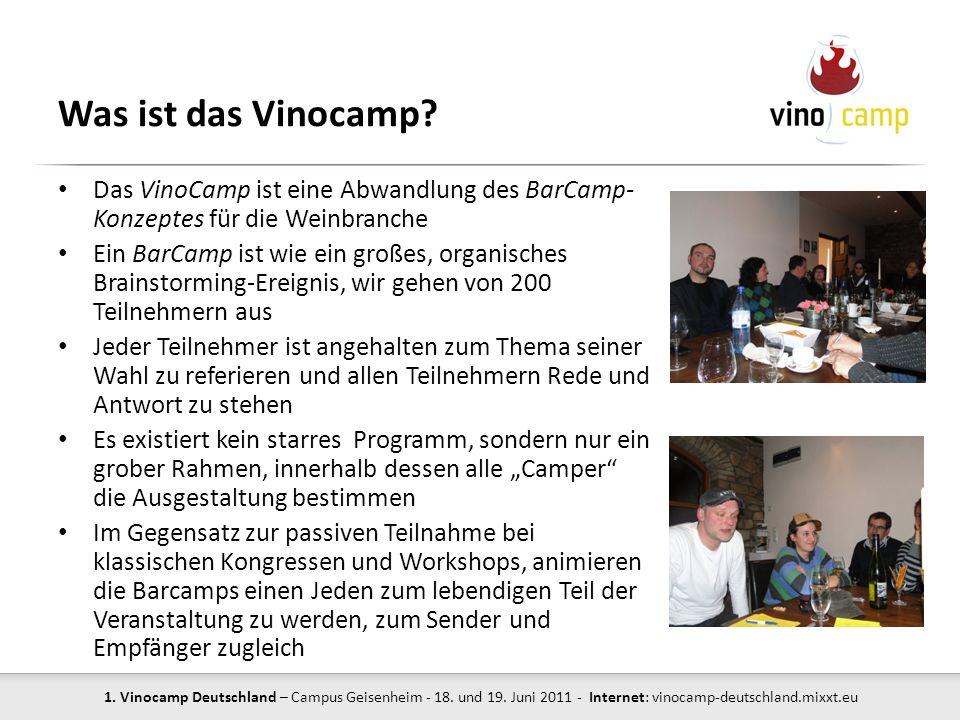 Was ist das Vinocamp Das VinoCamp ist eine Abwandlung des BarCamp- Konzeptes für die Weinbranche.