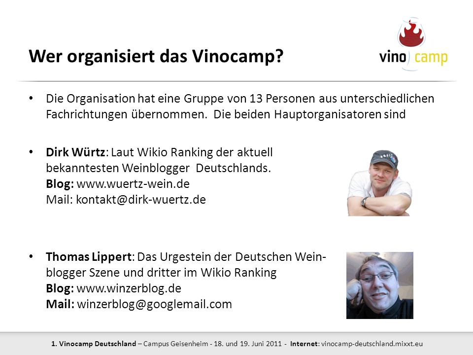 Wer organisiert das Vinocamp