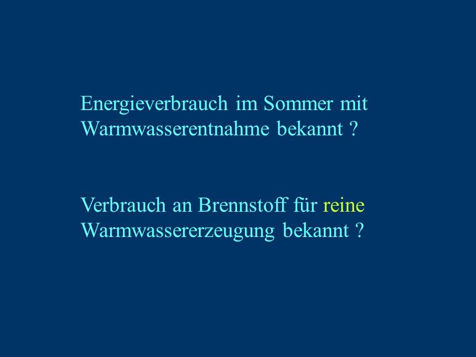 Energieverbrauch im Sommer mit Warmwasserentnahme bekannt