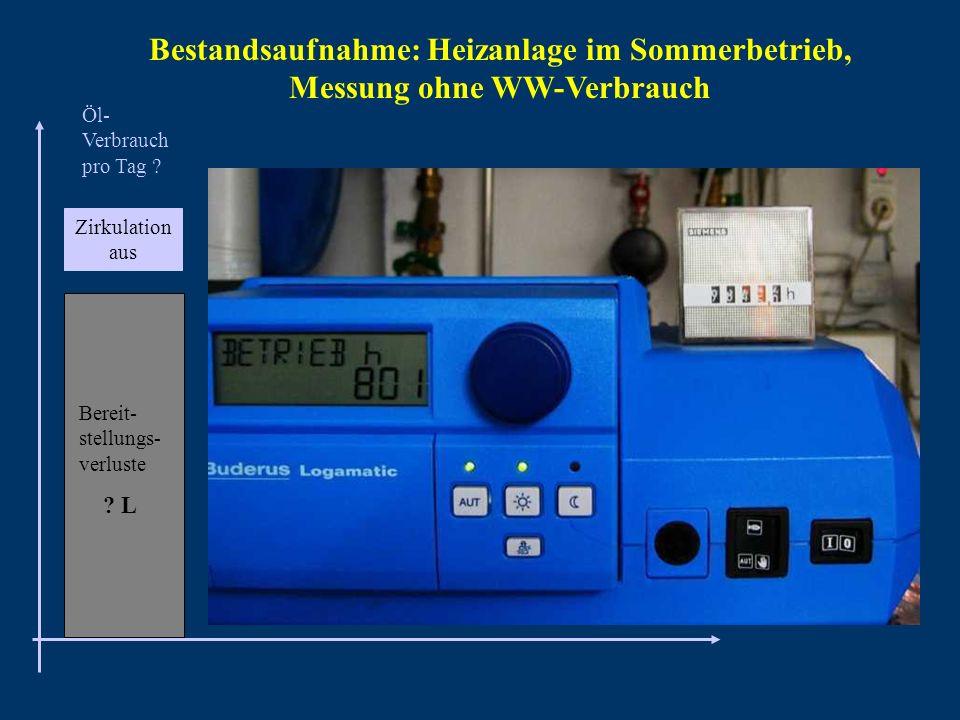 Bestandsaufnahme: Heizanlage im Sommerbetrieb, Messung ohne WW-Verbrauch